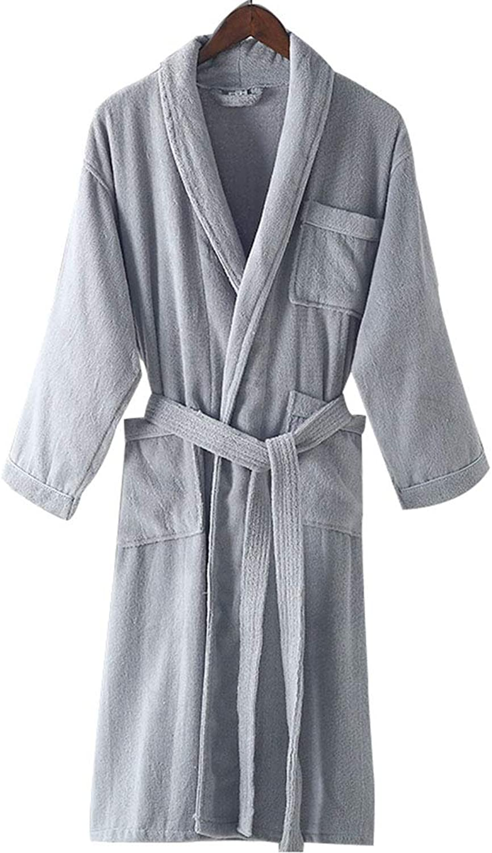 Bathrobe Men Women Cotton Toweling Bathrobes Adult Soft Robes Couple Hotel Dressing Gowns