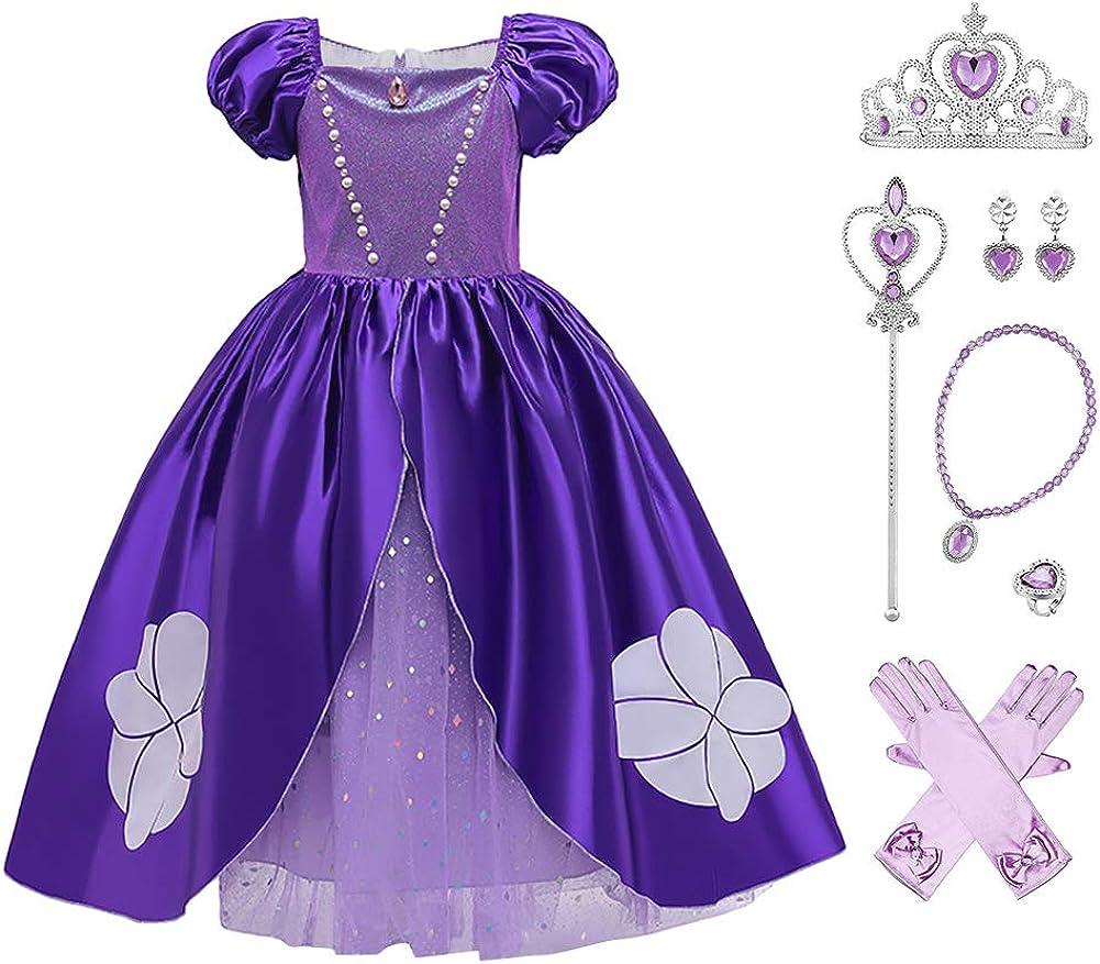 OBEEII Cenicienta Disfraz Cinderella Carnaval Traje de Princesa para Halloween Navidad Fiesta Cosplay Costume para Niñas Chicas 3-9 Años