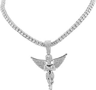 White Gold-Tone Iced Out Hip Hop Bling Open Wing Angel Pendant with 1 Row Stones Tennis Chain 16