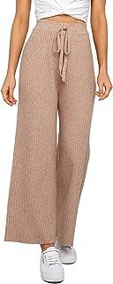 Womens Solid Rib Knit Wide Leg Pants Elastic Waist Flowy...
