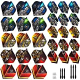 Whimlets Dart Flights and Accessories Kit - 30-Piece Professional Dart Flight Set with Standard/Slim Shape Darts Flights and Flights Protectors - Customizable Dart Accessories in 10 Unique Designs
