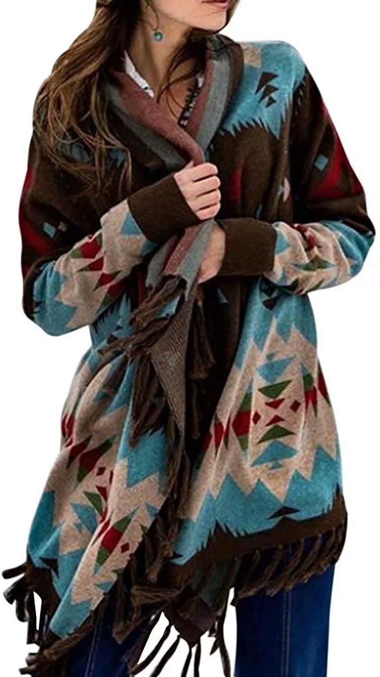 Womens Ethinc Boho Cardigan Coat Long Open Front Mid-Length Wool Coat Sweater Aztec Tribal Tassel Fringe Thin Coat