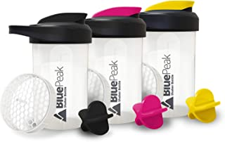 Sponsored Ad - BluePeak Protein Shaker Bottle 20-Ounce, 3-Pack, with Dual Mixing Technology. BPA Free, Shaker Balls & Mixi...
