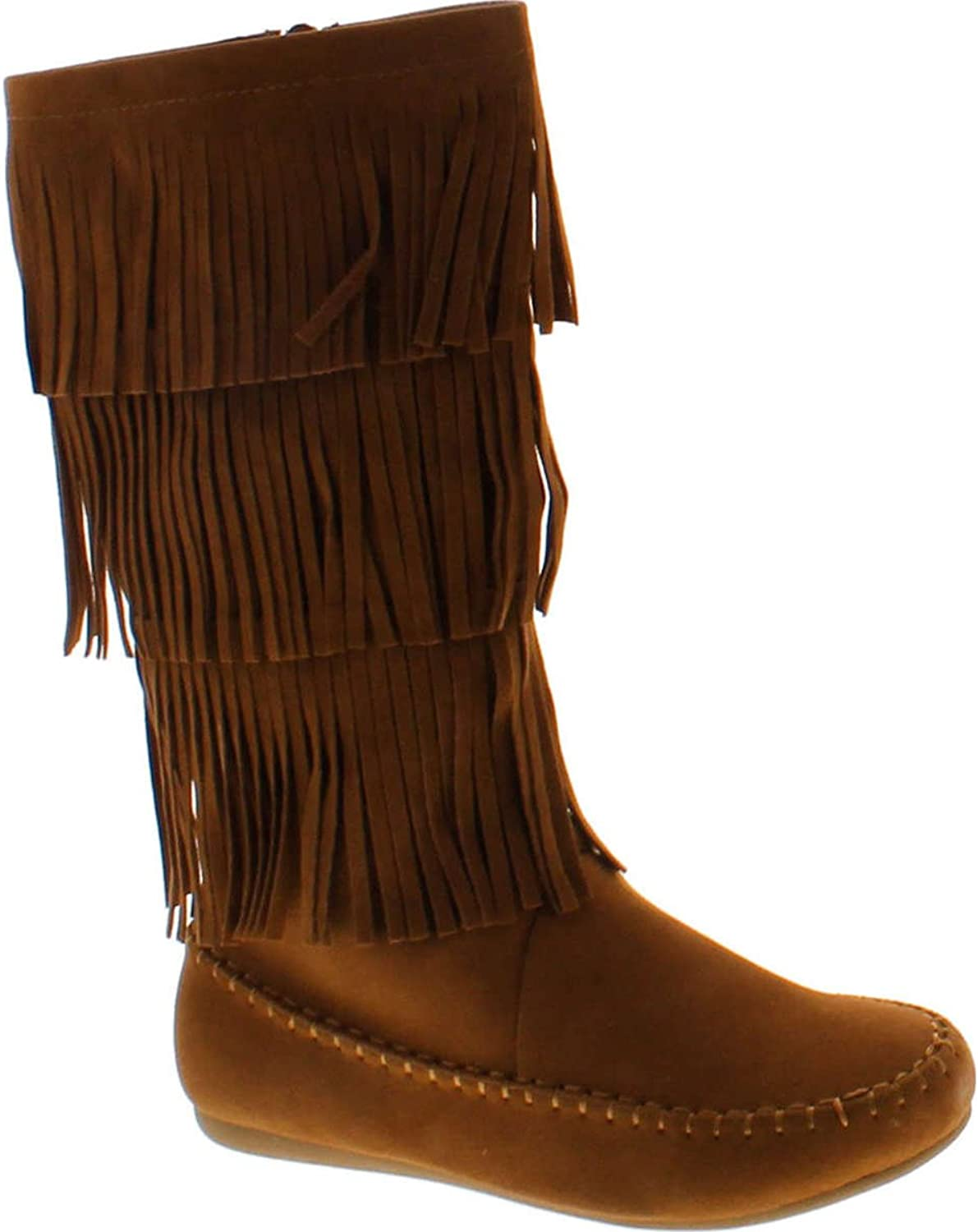 Forever Link Women's Candice-48 Five Tier Faux Suede Fringe Boots
