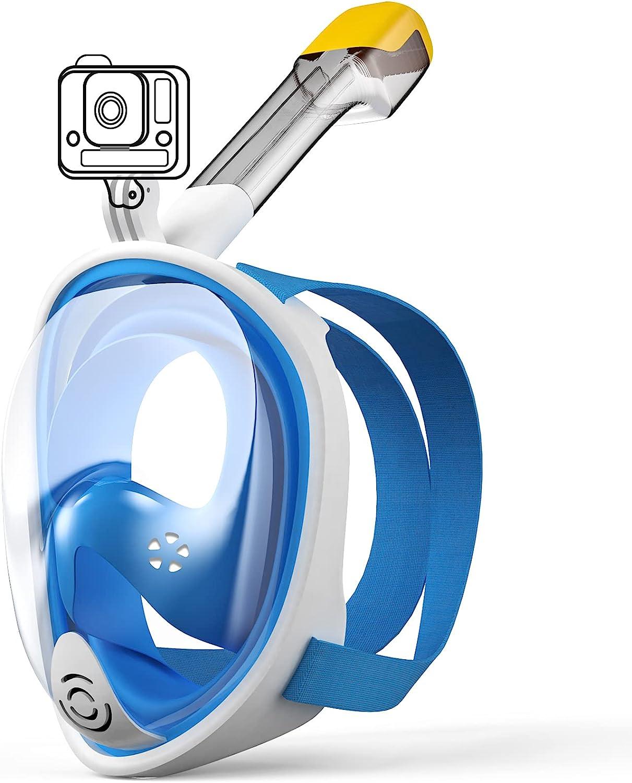 Máscara Snorkel Buceo Gafas de Buceo con Soporte para Cámara Deportiva180 ° Vista Panorámico Sistema Respirador Anti-Niebla Máscara Acuátita para Adultos y niños