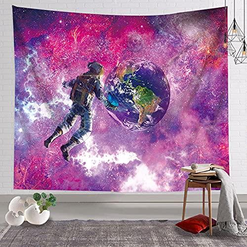 Fresco astronauta tapiz astronauta de dibujos animados skate espacio galaxia planeta tapiz colgante de pared decoración del hogar manta A3 100x150cm
