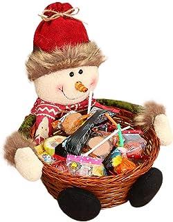 Christmas Candy Storage Decoration Santa Claus/Snowman/Elk Child Kids Christmas Candy Bottle Basket Sweet - FEE-ZC Candy B...