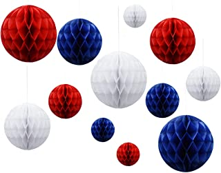 Paper Honeycomb Balls for July 4 Party, Nautical Party Hanging Decoration, Patriotic White Red Blue,12pcs