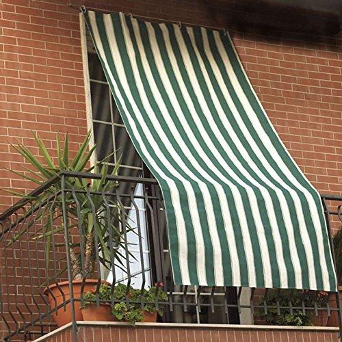 vetrineinrete® Tenda da Sole con Anelli in Tessuto per Balcone 200x290 cm Tende Parasole per finestre Veranda terrazzo a striscie Verde Blu Giallo (Be