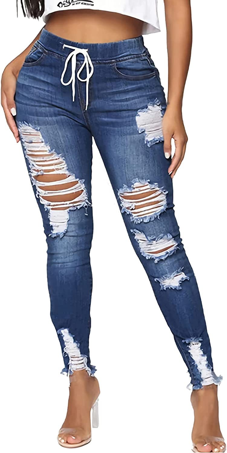 OWOLL Women High Waist Skinny Ripped Jeans Stretch Distressed Destroyed Denim Pants,Plus Size.