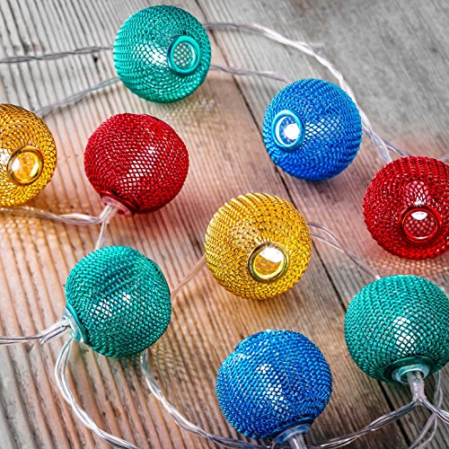 Auraglow Set of Battery Operated Indoor String LED Fairy Lights (Multi Colour Mesh Balls)