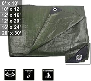 Hanjet Tarp Heavy Duty Waterproof Camping Car Pool Shade 9-mil Thick Poly Tarp Army Green/Brown&Sliver