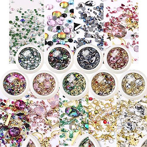 FLOFIA 9 Box Nagel Strasssteine Nail Art Niet Kristalle Edelsteine Nagelkunst Glitter Gem Strass Glitzersteinchen Set für Nageldesign Schmucksteine DIY 3D Diamant Gemischt Nagel Dekoration
