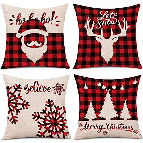 Whaline 4 Pieces Red Black Christmas Scottish Buffalo...