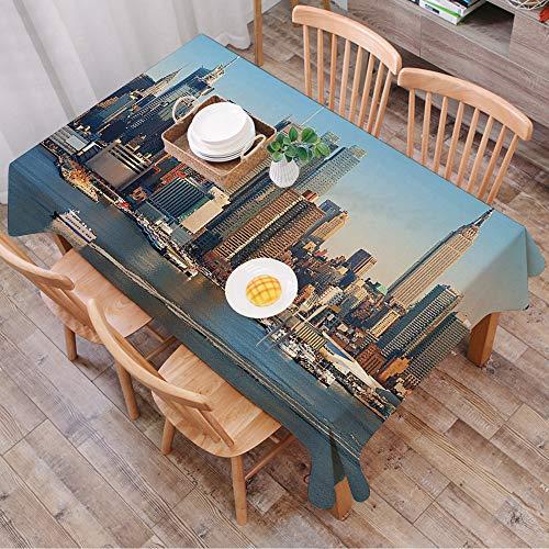 Nappe Rectangulaire Nappe Coton et Lin,Urbain, ligne d'horizon de la ville de New York au-dessus de la rivière Hudson, bâtiments d'Éta,LavableModerne pour Décoration de Table de Cuisine (140 x 200 cm)