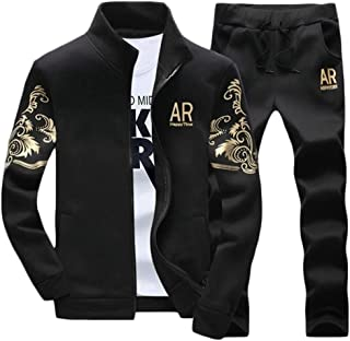 FSSE Mens 2 Pieces Outfits Gym Workout Print Running Jacket Pants Tracksuits