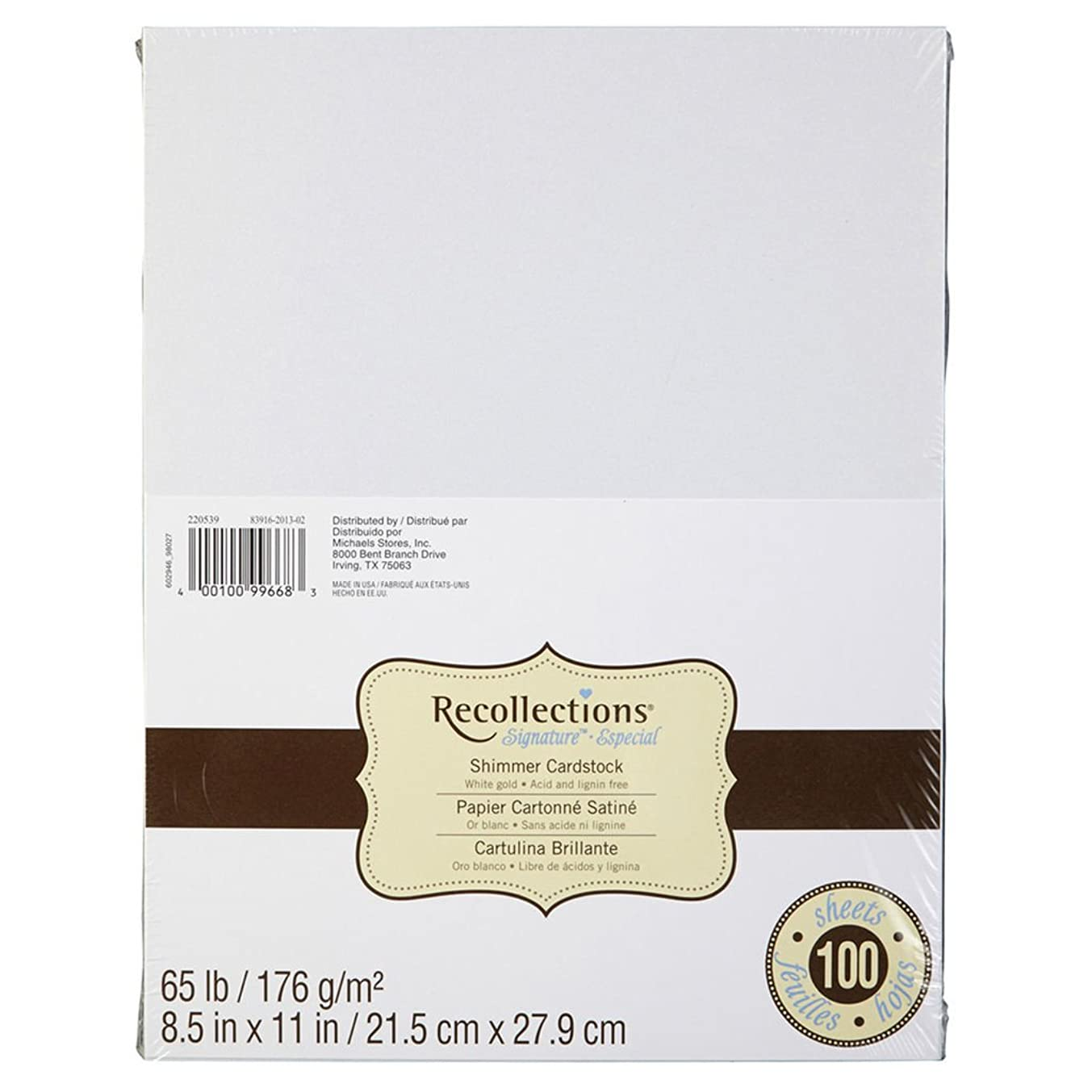 Recollections Shimmer White Gold Cardstock Paper, 8.5