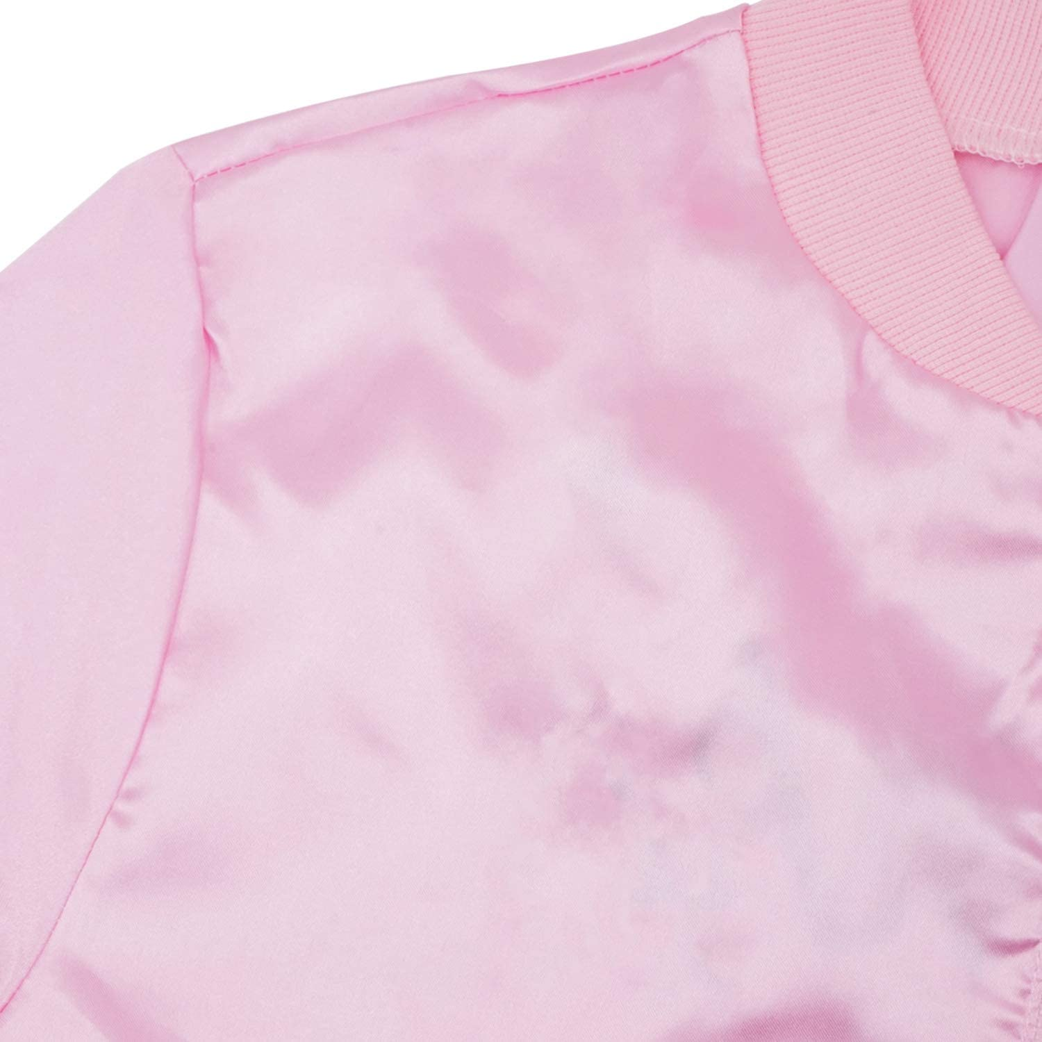 1950s Pink Women Satin Jacket Grease T-Bird Danny Halloween Cosplay Fancy Costume Outfit with Scarf
