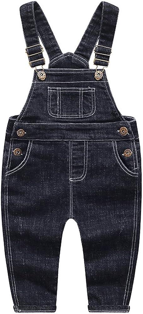 KIDSCOOL SPACE Baby & Little Boys/Girls Blue & Black Denim Overalls,Jean Workwear