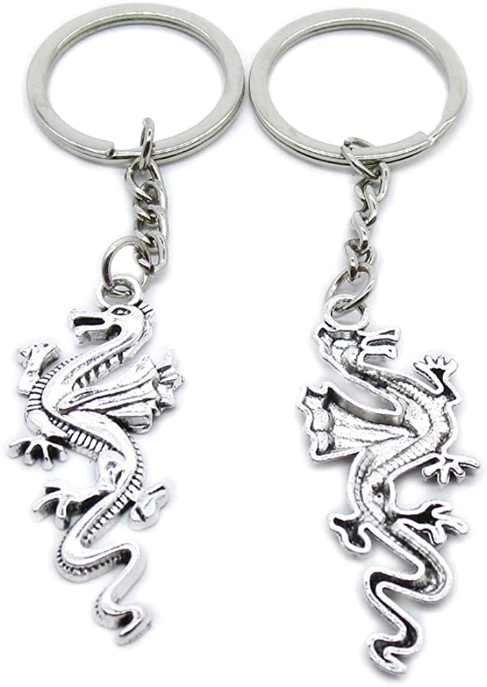 Cheap mail order sales Antique Silver Plated Keyrings Keychains Dragon Ring Key Max 82% OFF QH2H9 C