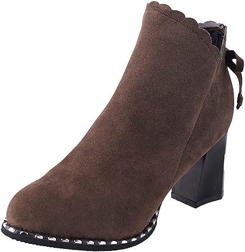 ZHRUI Bottes pour Les Les Les dames Chaussures pour Les Les dames Bottes pour Les Les dames Mode Bottes Martin Bottes épaisses Courtes et épaisses Femme Talons Hauts Bow Bottes d'hiver Bottes de paniers
