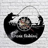 wtnhz LED-Disco de Vinilo Creativo Reloj de Pared diseño Moderno IR a Pescar decoración Reloj de Pared Hecho a Mano Colgante de Pared decoración Regalo para Pescador