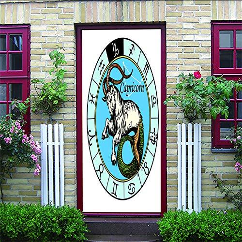 ZIJINJIAJU 3D selbstklebende Türaufkleber Cartoon, Sternbild, Tier 77X200CM Selbstklebende Türabziehbilder DIY wasserdichte abnehmbare Tür Poster Kinderzimmer Schlafzimmer Haus Kunstdekoration