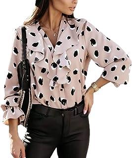 قمصان أبيكوك النسائية لوتس كشكشة بأكمام طويلة ورقبة على شكل حرف V مطبوعة بأزرار للأسفل