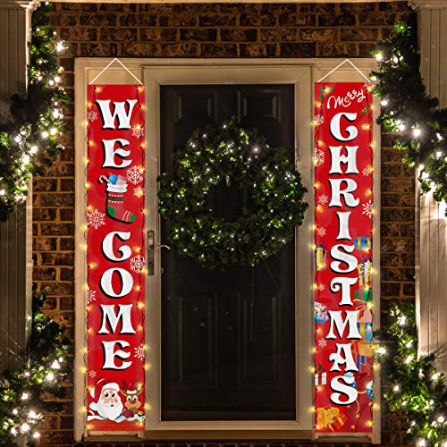 Crenics Christmas Porch Sign Banner with Led String Lights, Red Welcome Christmas Front Door Banner, Xmas Hanging Sign Decorations for Home Outdoor Indoor Wall Decorations Supplies