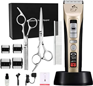 cyrico 5-Speed Dog Clippers Professional Heavy Duty Dog Grooming Clippers Pet Trimmers Clippers for Dogs Cats with Intelligent LCD Reminder (5-Speed)