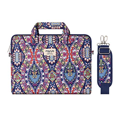 MOSISO Laptop Shoulder Bag Compatible with 2019 MacBook Pro 16 inch A2141, 15-15.6 inch MacBook Pro 2012-2019, Notebook, Pattern Briefcase Sleeve with Trolley Belt, Purple National Printing