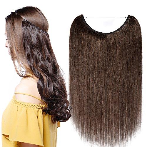 Extensions Echthaar mit Unsichtbarer Draht Mittelbraun - Haarverlängerungen Haarteile Glatt Haarverdichtung Keine Clip 16