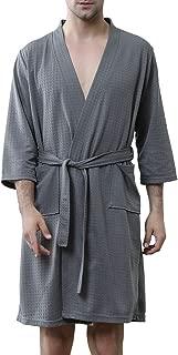 Men's Robes Lightweight Bathrobes Short Kimono Waffle Weave Knee Length Spa Summer Thin Soft Nightwear
