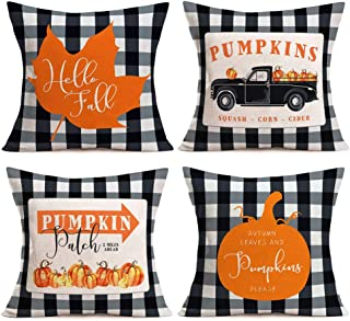 Asamour Pack of 4 Fall Buffalo Plaids Pumpkin Leaves Harvest Truck Throw Pillow Covers Autumn Farmhouse Decorative Cotton Linen Halloween Thanksgiving Blessing Quote Cushion Cover Pillow Case 18''x18'