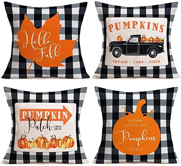 Asamour Pack Of 4 Fall Buffalo Plaids Pumpkin Leaves Harvest Truck Throw Pillow Covers Autumn Farmhouse Decorative Cotton Linen Halloween Thanksgiving Blessing Quote Cushion Cover Pillow Case 18 X18