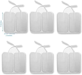 12 Pieces Electrode Pads for TENS Unit EMS Machine Device Massager Premium Quality Self Adhesive Square 4 x 2 Extra Large Replacement Pads