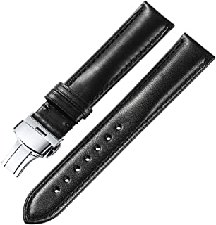 18 19 20 21 22mm Genuine Leather Watch Band Padded Calfskin Strap Steel Butterfly Deployant Clasp Super Soft(Six Color Choose)
