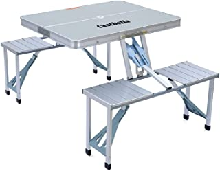 Folding Picnic Garden Table Set Aluminium with 4 Seats Portable Foldable for Outdoor Camping Beach BBQ With Handle Silver
