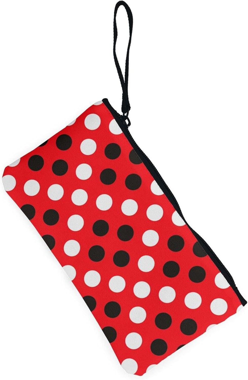 AORRUAM Red white polka dot Canvas Coin Purse,Canvas Zipper Pencil Cases,Canvas Change Purse Pouch Mini Wallet Coin Bag