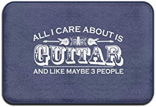 ZMvise Rubber All I Care About is Guitar Funny Welcome Mat Doormat Outdoor Carpet 18 x 30 inch