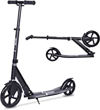 streakboard Kick Scooter Adult Teen Adjustable Foldable Scooter with Shoulder Strap, Rear Fender Brake, 230mm Big Wheels Aluminum Alloy Commuter Scooter for Kids Age 8 Up