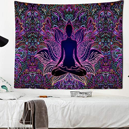 JEIBGW tapizEstatua de Buda meditación 7 Chakra Tapiz Colgante de Pared Mandala tapices Tela de...