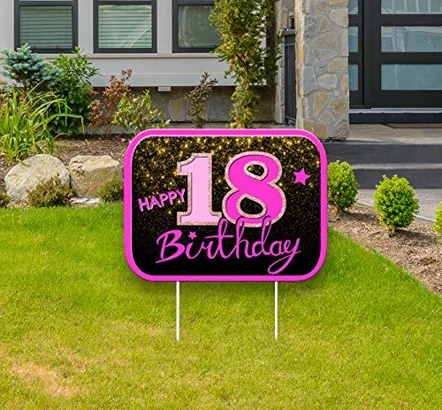 """Haimimall Geburtstags-Hof-Schilder mit Pfählen für den Außenbereich, Rasen-Dekoration, Heim-Party-Dekorationen zum 18. Geburtstag, Yard-Schilder, rosa """"Happy Birthday""""-Dekorationen für Mädchen."""