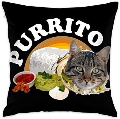 ZKIRESD Purrito Kitty Cat in A Burrito Decor Throw Pillows Covers Decorative Pillowcase for Couch Bed