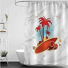 SLLART Shower Curtains Dragon Ball Beach,Exotic Halftone Backdrop W48 x L72,Shower Curtain for Women
