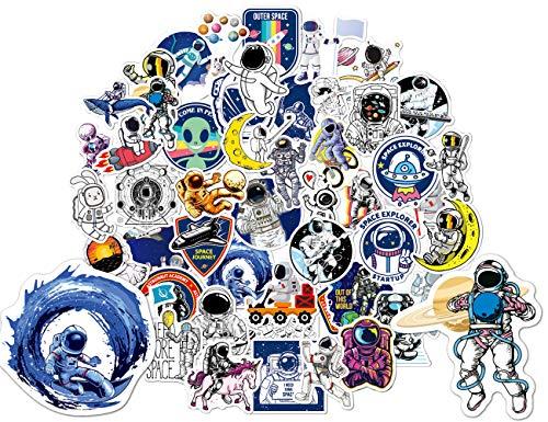 ActFun Space Explorer Astronaut for NASA Stickers, 50 PCS, VSCO Cartoon Universe Planet Stickers, Waterproof Cool Vinyl Stickers for Adults Teens Kids, for MacBook,Water Bottles,Skateboard,Car,Laptop