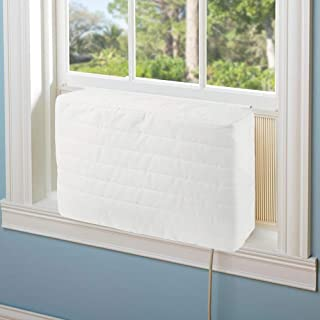 Aozzy Ac Covers for Inside Unit Indoor Air Conditioner Covers for Window Units Winter Beige Double Insulation Quilted AC Cover Keeps Cold Air Out Eliminates Dirt (25