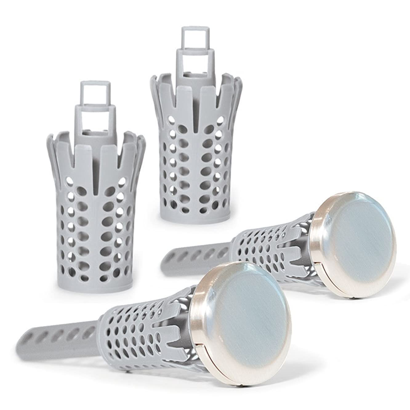 Drain Strain Deluxe Sink Hair Catcher Value Pack | 2 Clog Free Pop-Up Stoppers with 2 Extra Hair Catcher Baskets | Brushed Nickel | Fits Most 1.25