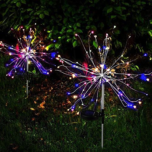 Solarlampe für Garten Outdoor Feuerwerk Lichter DIY Feuerwerks Bäume Landschaft Licht Wegeleuchten für Außen, Garten ,Balkon,Blumenkästen und Terrasse Dekoration (120LED Farbe)