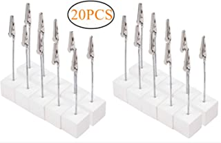 Dproptel 20pcs Memo Clip Holder Stand Photo Display Clip with Alligator Clasp for Pictures Card Paper Note Clip - Shop Display Price Tag (White)